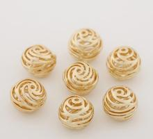 1Pcs DIY Metal Beads Brass Gold Plated Jewelry Accessories Materials Hollow Ball Beaded Fashion Charm Decorate DIY Craft Supplie(China)