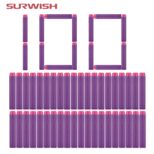 Surwish 100pcs Dart Refills Solid Head Foam Bullets for Nerf Toy Gun 7cm for Girls - Purple Color(China)