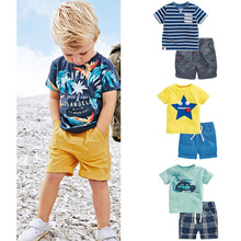 New 2017 Brand Quality 100% Cotton Baby Boys Clothing Sets Summer Children Suit Kids Short Sleeve Clothes Sets Baby Boys Outwear