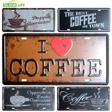 Coffee Car License Plate Vintage Home Decor Tin Sign Bar Pub Cafe Wall Decor Metal Sign Metal Painting Crafts Metal Plaque(China)
