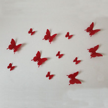 12PCS/Set Red Butterfly Wall Stickers Home Decor Living Room DIY PVC Modern Wall Decals Home Decoration Accessories Cheap Y96(China)