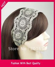 Wholesale freeshipping flower lace design headband wide elastic hairband black and white assorted 8.5cm width12pc/lot