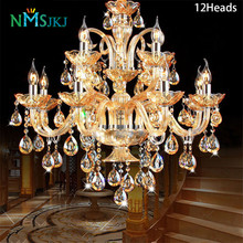 K9 Crystal Candle Chandelier Light Fixture Luxury Lampara de arana For Living Room Hotel AC110V~240V 6/8/10/12/15/18 Arms(China)
