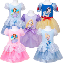 2017 Girls Dresses Party Wedding Costumes Baby Girl Dress Tutu Princess Sofia Rapunzel Snow White Cospaly Children Clothing New