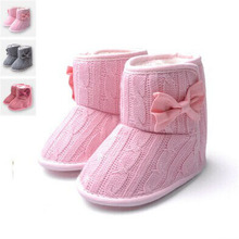 Toddler Knited Winter Faux Fleece Crib Snow Boots Kid Baby Shoes Bowknot Woolen Yam Fur Knit Shoes Firsst Walkers(China)