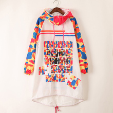 Women's Hip Hop Casaul Loose Hooded Printed Letter Trend Design Long Jacket Pink Camouflage Street Coat 2017 Hot High Quality