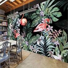 Beibehang Пастырской Фламинго Тропических лесов Mural Фон пользовательские фотография mural обои большой papel де parede 3 обои(China)