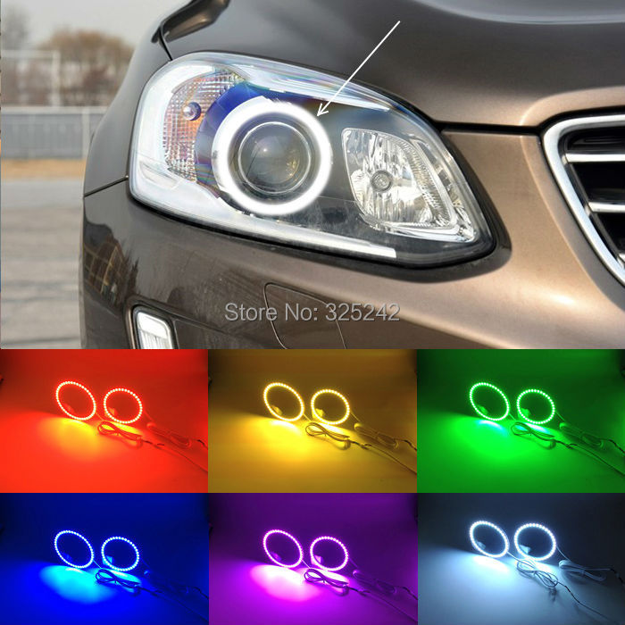 For Volvo XC60 2014 2015 XENON HEADLIGHT Excellent Angel Eyes Multi-Color Ultrabright RGB LED Angel Eyes kit Halo Rings<br><br>Aliexpress