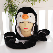 10pcs/lot Long Style Penguin Cartoon Animal Hat Cute Fluffy Plush Hat with long scarf gloves Cap
