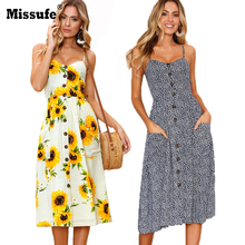 Sexy V Neck Strap Backless Floral Print Summer Tunic Women Beach Dress 2018 Boho Style Sunflower Daisy Pineapple Party Vestidos(China)