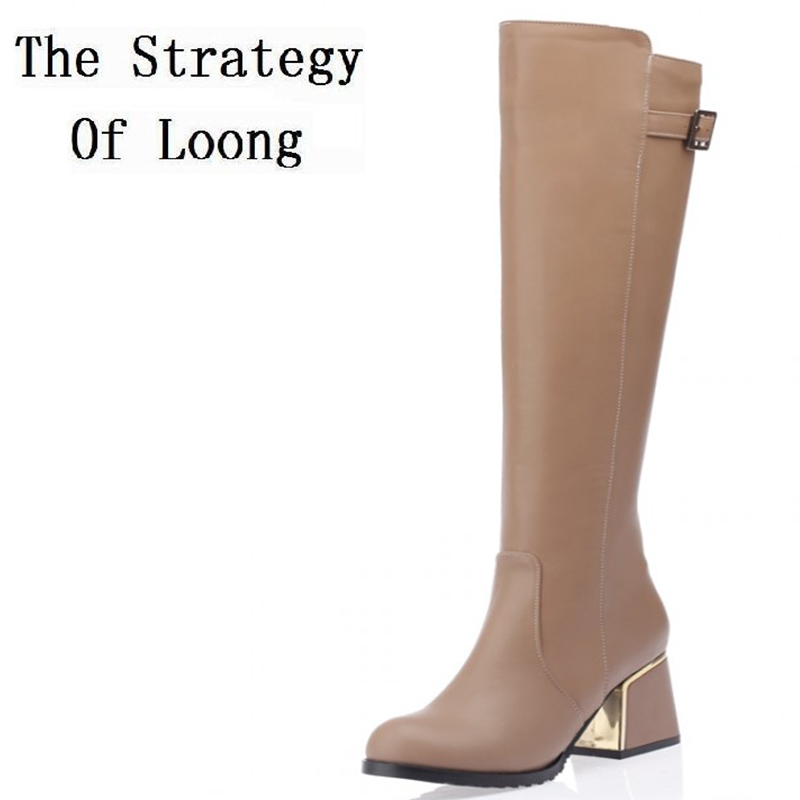 Spring Autumn Buckle Zip Knee High Leather Woman Boots Thick High Heels Long Boots Chunky Women Knight Boots Plus Size 34-52<br>