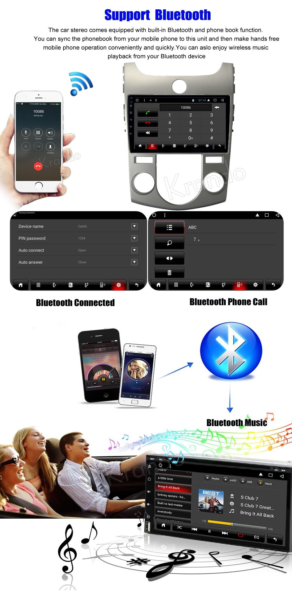 Krando kia forte cerato Android car radio gps navigation multimedia system (3)