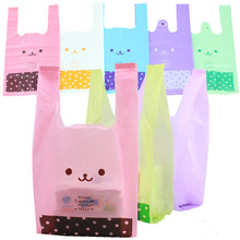 "100pcs/lot Size 18*35cm(7""*14"") Supermarket Shopping plastic Bag with handle Bear picture bag child party candy bag(China)"