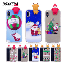 Boxkeya Latest 2017 Winter Phone Cases For iPhone X 8 Plus Christmas Soft Silicone Cover For iPhone 7 Plus Phone Cases Capinha(China)