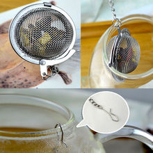 Convenient Stainless Steel Tea Infuser Strainer Mesh Tea Filter Spoon Hooking Chain Free Shipping