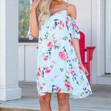 Boho Dress For Women Floral Printed Summer Midi Dresses Open Shoulder Short Sleeve  Beach Dress Femininas 1a4e808a48f3