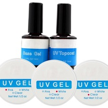 UV Gel Nail Tools Builder Creating Fantastic Crystal French Nail Effect Clear White Pink + UV Topcoat + Base Gel