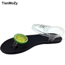 summer shoes women Jelly sandals fresh lemon grips flat buckle strap female sandals transparent plastic crystal beach shoes(China)