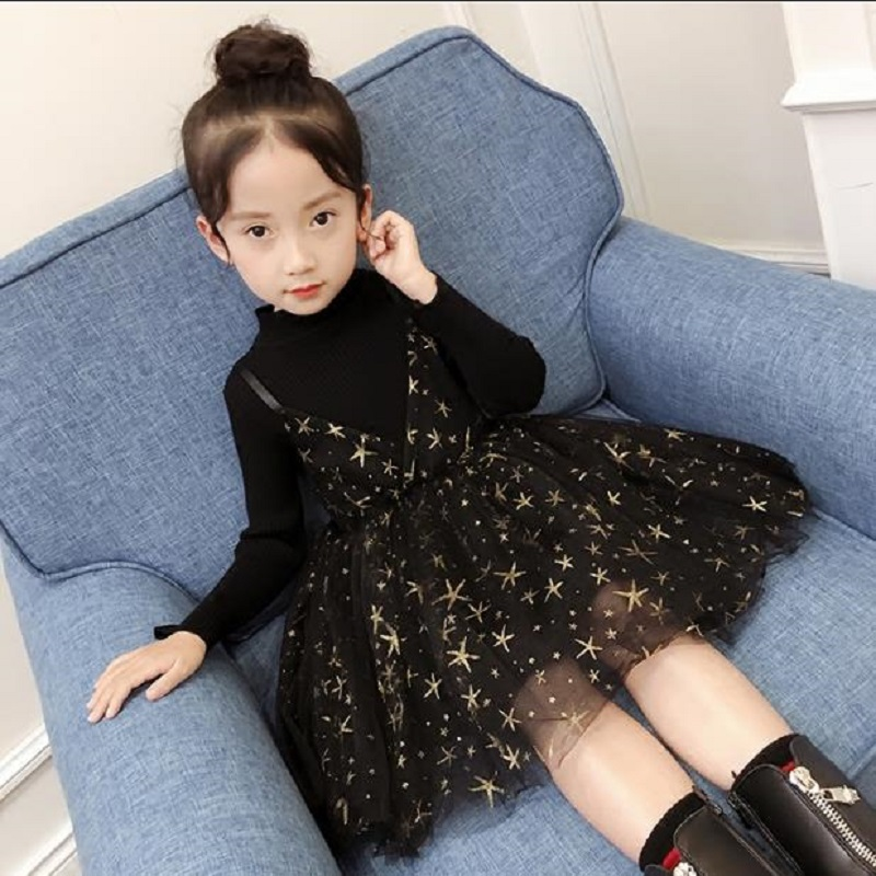 NICBUY Girls autumn winter dress Fake two-piece vest dress.  906YC<br>