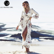 Lily Rosie Girl Women 2017  Asymmetrical Bohemian Style Enthic Long Dress V Neck Naturl Waist Autumn  Flare Sleeve Maxi Dresses