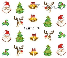 Water Transfer stickers for nail art cute merry Christmas snowflake tree Bells Design Fingernails Decals Manicure stickers(China)