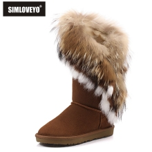SIMLOVEYO New Rabbit fur Nature Fox fur boots genuine leather Tassels Christmas Fashion snow boots for women's flat Warm Black
