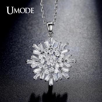 Umode nuevo copo de nieve colgante collares trapezoidal cut cubic zirconia oro blanco plateó la joyería de cristal para las mujeres collier un0225