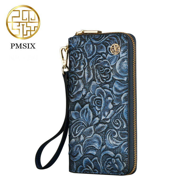 Pmsix 2017 leather wallet Women Chinese style Vintage Long Wallets Cow  Leather Purse blue P420011<br>