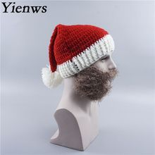 Yienws Winter Knitted Skullies And Beanies Hats For Men Fashion Beard Ski Mask Hat New Year Christmas Cap Man Headgear YIC056(China)