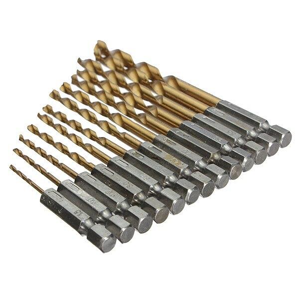 Hand Tools New 13pcs/lot HSS High Speed Steel Titanium Coated Drill Bit Set 1/4 Hex Shank 1.5-6.5mm High Quality<br><br>Aliexpress