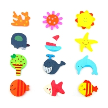 12pcs/set Random Pattern Cute Wooden Fridge Magnets Early Learning Cartoon Animal Magnet Sticker Toy(China)