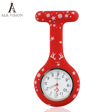 2017 Merry Christmas nurse watch digital silicone medical watch pendant quartz brooch doctor watch with clip dropshipping(China)