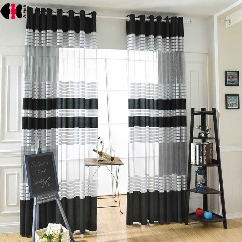 White Black Striped Curtains for Bedroom Living Room Simple Modern Pastoral French Window Treatment Rideaux JS46C