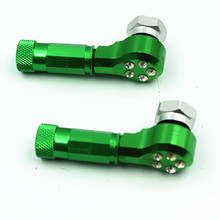A Pair Green CNC Motorcycle Wheel Tire Valve Stem Caps Green Street bike Dirt bike Atv For Honda Kawasaki Suzuki Yamaha