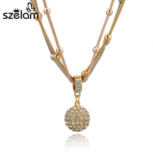 Buy Szelam Crystal Ball Necklaces Pendants Hot Sale Lovely Fashion Gold Necklace Long Chain Necklace Women SNE140451 for $4.42 in AliExpress store