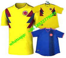 2018 World Cup Colombia home yellow soccer jersey 17 18 away blue FALCAO JAMES CUADRADO TEO BACCA football shirts(China)