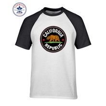 2017 Natural Cotton California Republic Bear  Flag Cotton T Shirt for men