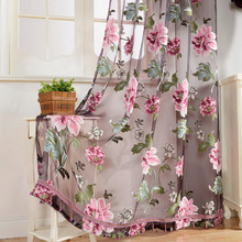 2Pcs Romantic Flower Window Curtain Transparent Peony Windows Panel Balcony Living Room Bathroom Bedroom Curtains 2017ing