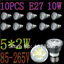 10PCS 5X2W E27 LED Lamp 10W Warm White/White Dimmable Light Bulb DIM Spotlight 85-265V Epistar chip Free Shpping(China)