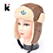 2017 Kids Aviator Hat With Ear Flaps Boy Winter Warm Children's Bomber Thicken Hats for Children Boy and Girl's Snow Cap