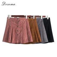 Buy DOSOMA 2018 Spring autumn retro high waist suede breasted pleated skirt Women solid a-line short skirts female sexy mini skirts for $12.54 in AliExpress store