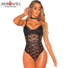 SEBOWEL White/Black Floral Lace Bustier Bodysuit Women Sexy Summer Body Jumpsuit Femme Romper Combinaison Shorts Playsuits 2017(China)