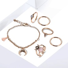 2017 Fashion New Products Alloy Bracelet Rings Set Mosaic Rhinestone Gold Jewelry Premium Set Accessories Boutique jewelry set