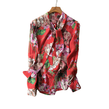 2017 Spring Summer European American Women Long Sleeve Flower Printed Bow Shirt Soft Chiffon Plus Size 5XL Blouses High Quality(China)