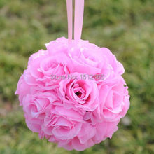 Free shipping, 20cm/8'' New style Pink Silk Rose Kissing Ball Flower Pomander Bouquet Flower Ball Wedding Party Supplys HQ17