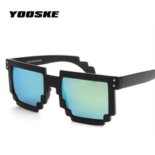 YOOSKE Glasses Brand Designer Mirrored Men's Women's  Mosaic Sun Glasses 8 Bits Pixel Vintage Female Male Sunglasses