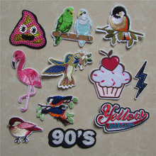 fashion 13 kind high quality mixture cartoon patter hot melt adhesive applique embroidery patches stripes DIY clothing accessory(China)