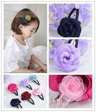 12 pcs/lot , Fabric Flower Hair Clip Barrette , Satin Rose Hair Clip , Snap Clip Barrette(China)
