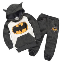 winter children's clothing suits batman kids hoodies + pants 2 pcs children sports suit boys clothes set retail XMZ045