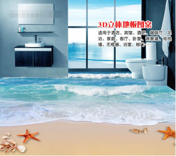 3 d flooring custom waterproof  3d pvc flooring 3 d sand waves sea shells  3d bathroom flooring photo wallpaper for walls 3d<br>